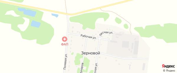 Рабочая улица на карте Зернового поселка Тюменской области с номерами домов