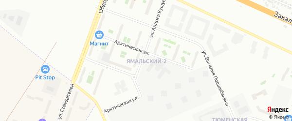 Ямальский микрорайон на карте Тюмени с номерами домов