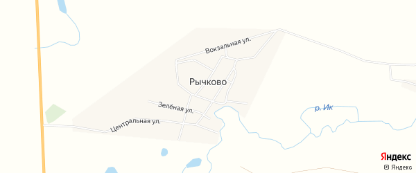 Карта села Рычково в Курганской области с улицами и номерами домов