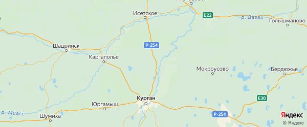 Карта Белозерского района Курганской области с городами и населенными пунктами