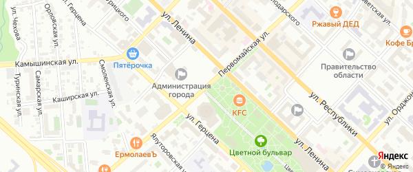 Звонкая улица на карте территории СНТ Царева с номерами домов