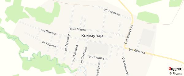 Карта поселка Коммунара в Тюменской области с улицами и номерами домов