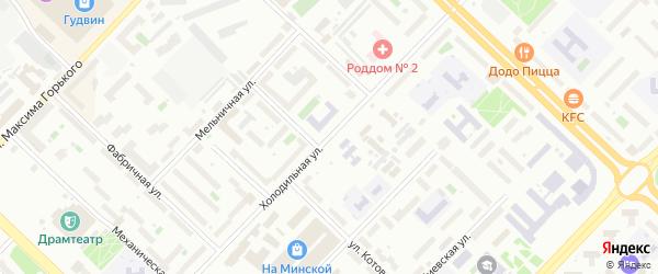 Холодильная улица на карте Тюмени с номерами домов