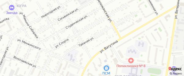 Таежная улица на карте Тюмени с номерами домов