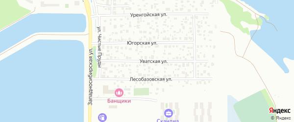 Уватская улица на карте Тюмени с номерами домов