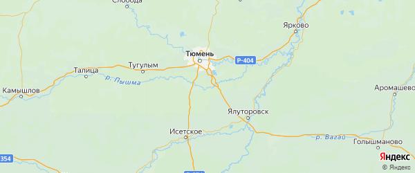 Карта Тюменского района Тюменской области с городами и населенными пунктами