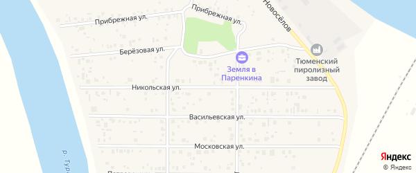 Никольская улица на карте территории ТСН Серебряного бора Тюменской области с номерами домов