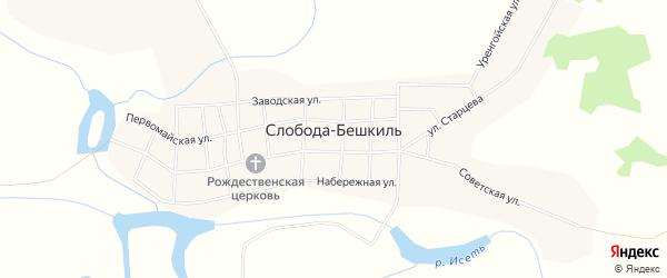 Карта села Слободы-Бешкиля в Тюменской области с улицами и номерами домов