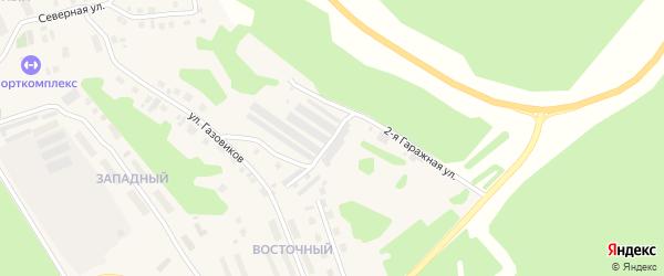 1-я Гаражная улица на карте поселка Андры Ханты-Мансийского автономного округа с номерами домов