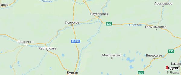Карта Упоровского района Тюменской области с городами и населенными пунктами
