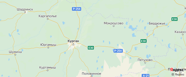 Карта Варгашинского района Курганской области с городами и населенными пунктами