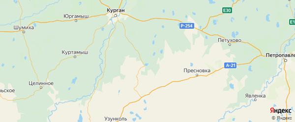 Карта Половинского района Курганской области с городами и населенными пунктами