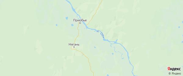 Карта Октябрьского района Ханты-Мансийского автономного округа с городами и населенными пунктами