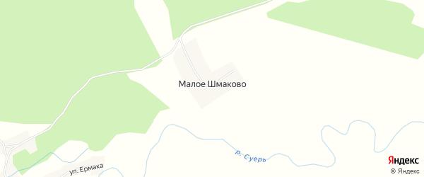 Карта деревни Малое Шмаково в Курганской области с улицами и номерами домов
