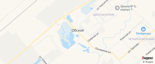 Карта микрорайона Обской причала города Лабытнанги в Ямало-ненецком автономном округе с улицами и номерами домов