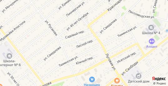 Лесной переулок в Ялуторовске с номерами домов на карте. Спутник и схема онлайн