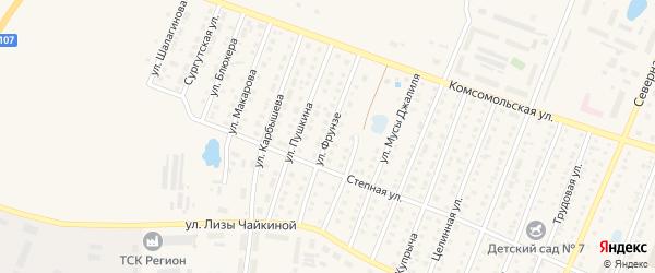 Улица Фрунзе на карте Ялуторовска с номерами домов