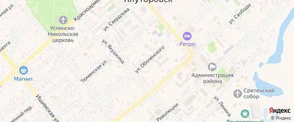 Улица Оболенского на карте Ялуторовска с номерами домов