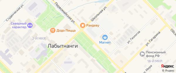 Первомайская улица на карте Лабытнанги с номерами домов