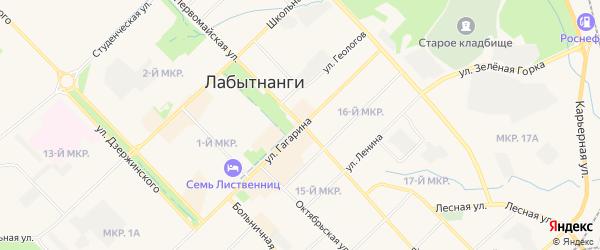 Карта Октябрьского микрорайона города Лабытнанги в Ямало-ненецком автономном округе с улицами и номерами домов