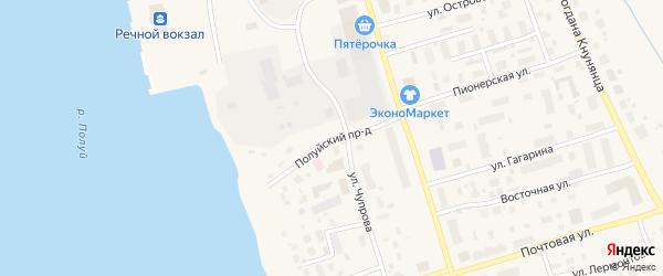 Полуйский проезд на карте Салехарда с номерами домов