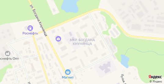 Микрорайон Богдана Кнунянца в Салехарде с номерами домов на карте. Спутник и схема онлайн