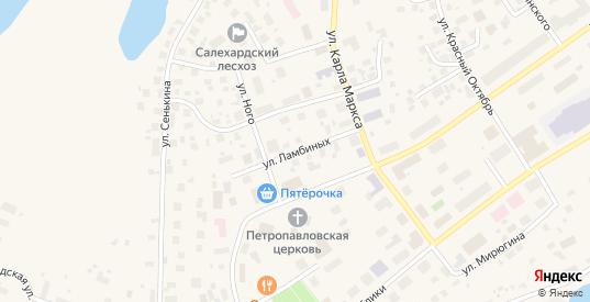 Улица Ламбиных в Салехарде с номерами домов на карте. Спутник и схема онлайн