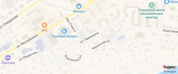 Улица Гаврюшина на карте Салехарда с номерами домов