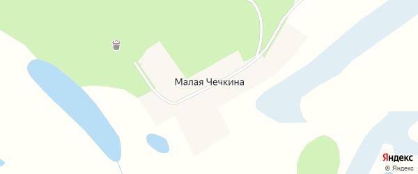 Центральная улица на карте деревни Малая Чечкина Тюменской области с номерами домов