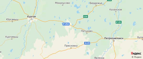 Карта Макушинского района Курганской области с городами и населенными пунктами