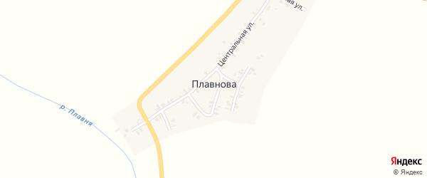 Полевая улица на карте деревни Плавнова Тюменской области с номерами домов