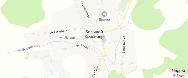 Карта села Большого Краснояра в Тюменской области с улицами и номерами домов