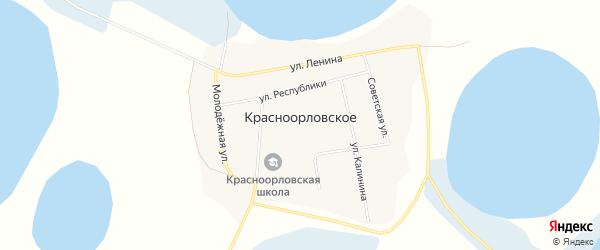 Карта Красноорловского села в Тюменской области с улицами и номерами домов