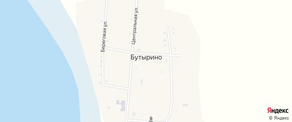 Центральная улица на карте села Бутырино Курганской области с номерами домов