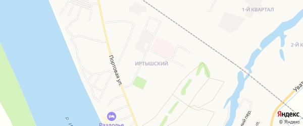Иртышский микрорайон на карте Тобольска с номерами домов