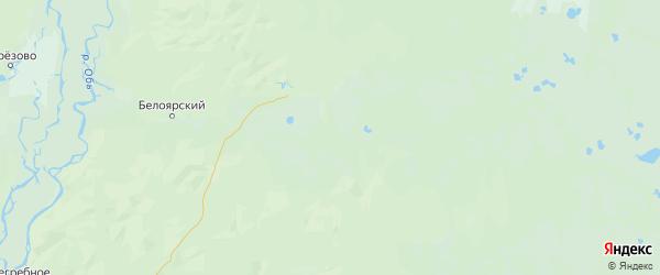 Карта Белоярского района Ханты-Мансийского автономного округа с городами и населенными пунктами