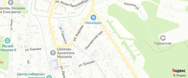 Пионерский переулок на карте Тобольска с номерами домов