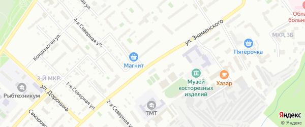 Улица Знаменского на карте Тобольска с номерами домов
