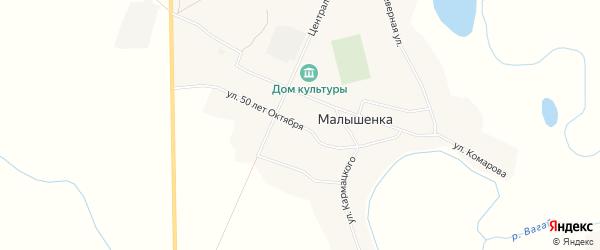Карта села Малышенки в Тюменской области с улицами и номерами домов