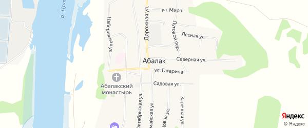 Карта села Абалака в Тюменской области с улицами и номерами домов
