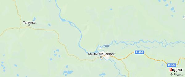 Карта Ханты-мансийского района Ханты-Мансийского автономного округа с городами и населенными пунктами