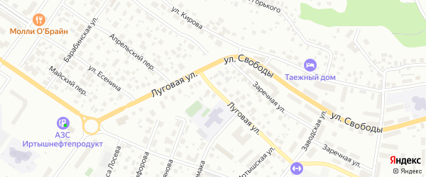 Луговая улица на карте Ханты-Мансийска с номерами домов