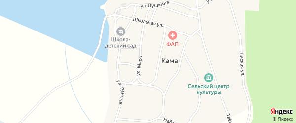 Набережная улица на карте деревни Камы Ханты-Мансийского автономного округа с номерами домов