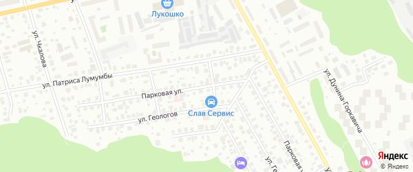Парковая улица на карте Ханты-Мансийска с номерами домов