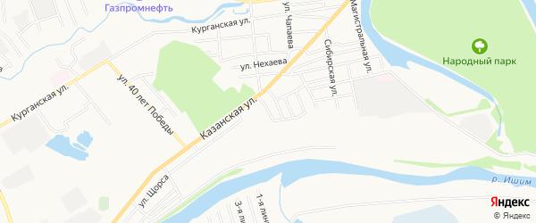 Карта территории гк Казанского города Ишима в Тюменской области с улицами и номерами домов