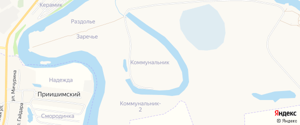 Карта территории гк Коммунальника города Ишима в Тюменской области с улицами и номерами домов