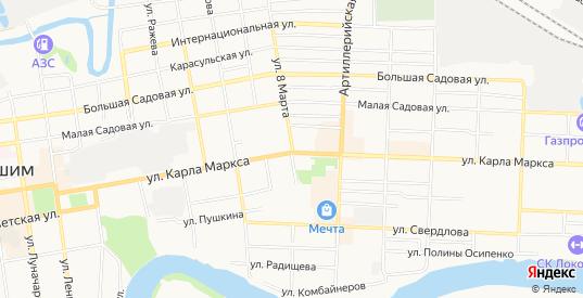 Карта территории гк Береговой в Ишиме с улицами, домами и почтовыми отделениями со спутника онлайн