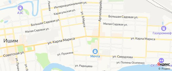 Карта садового некоммерческого товарищества Швейника города Ишима в Тюменской области с улицами и номерами домов