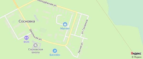 Улица Первопроходцев на карте поселка Сосновки Ханты-Мансийского автономного округа с номерами домов