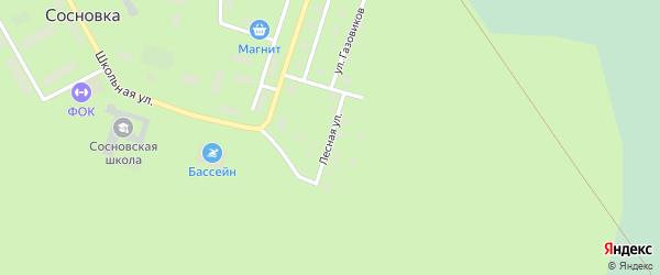Лесная улица на карте поселка Сосновки Ханты-Мансийского автономного округа с номерами домов